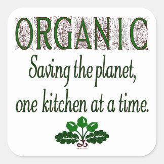 Ahorro orgánico el decir de la cocina del planeta pegatina cuadrada