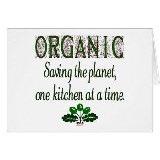 Ahorro orgánico el decir de la cocina del planeta tarjeta de felicitación