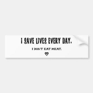 Ahorro vidas cada pegatina del día pegatina de parachoque