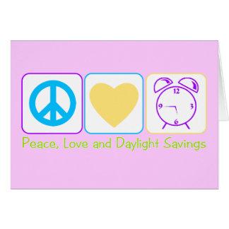 Ahorros de la paz, del amor y de luz del día tarjeta de felicitación