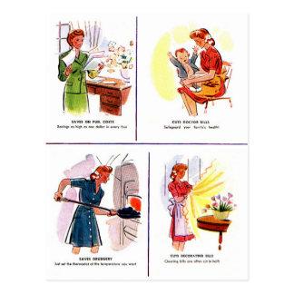 Ahorros retros del ama de casa de la mujer del tarjetas postales