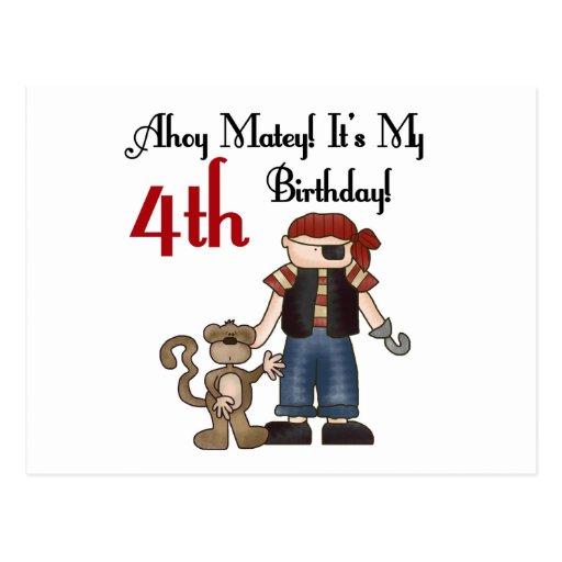 Ahoy 4tas camisetas y regalos del cumpleaños del tarjeta postal