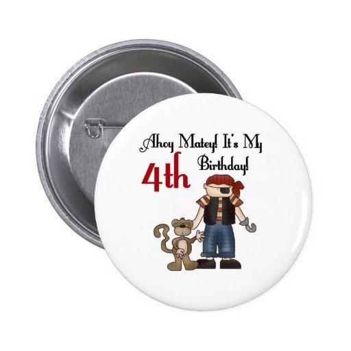 Ahoy 4to cumpleaños del pirata afable pin redondo 5 cm
