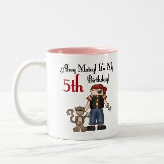 Ahoy 5to cumpleaños del pirata afable tazas de café