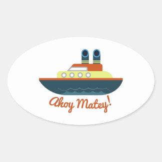 Ahoy afable pegatinas de óval