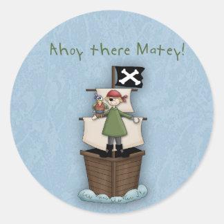 ¡Ahoy allí afable!      Fiesta del pirata Pegatina Redonda