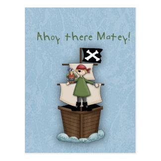 ¡Ahoy allí afable!  La postal invita
