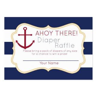 Ahoy allí boleto náutico de la rifa del pañal tarjetas de visita grandes