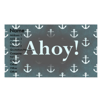 Ahoy! Anchor Pattern Design Dark Blue Business Card
