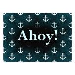 Ahoy! Anchor Pattern Design Dark Blue Announcements