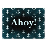 Ahoy! Anchor Pattern Design Dark Blue 5x7 Paper Invitation Card