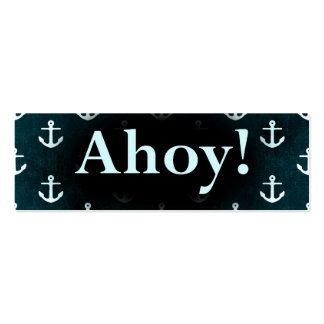 Ahoy! Anchor Pattern Design Dark Blue Mini Business Card