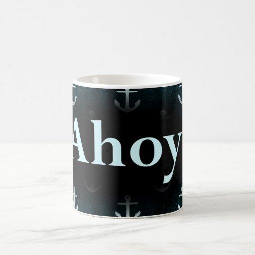 Ahoy! Anchor Pattern Design Dark Blue Mugs