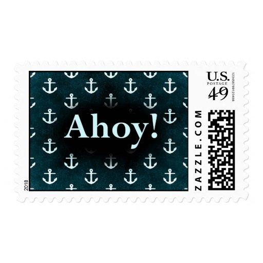 Ahoy! Anchor Pattern Design Dark Blue Postage Stamp