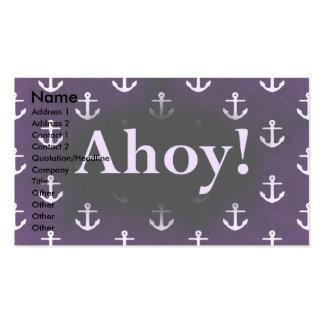 Ahoy! Anchor Pattern Design Dark purple Business Card
