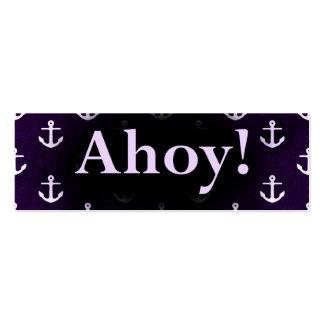 Ahoy! Anchor Pattern Design Dark purple Mini Business Card