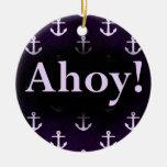Ahoy! Anchor Pattern Design Dark purple Christmas Tree Ornament