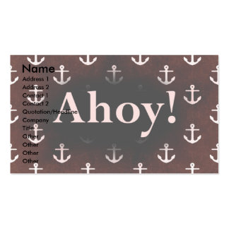 Ahoy! Anchor Pattern Design Dark Red Business Card