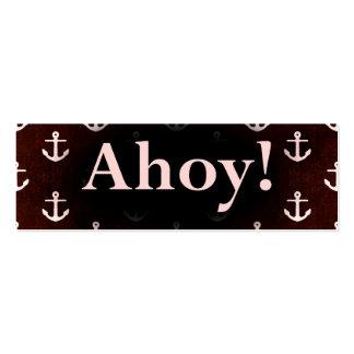 Ahoy! Anchor Pattern Design Dark Red Mini Business Card