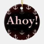 Ahoy! Anchor Pattern Design Dark Red Christmas Tree Ornaments