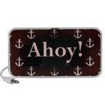 Ahoy! Anchor Pattern Design Dark Red Travelling Speaker
