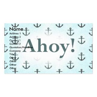 Ahoy! Anchor Pattern Design Light Blue Business Card