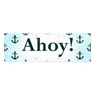 Ahoy! Anchor Pattern Design Light Blue Mini Business Card