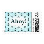 Ahoy! Anchor Pattern Design Light Blue Postage Stamps