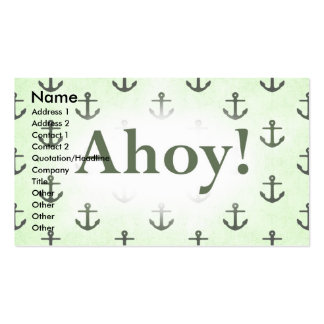 Ahoy! Anchor Pattern Design Light Green Business Card