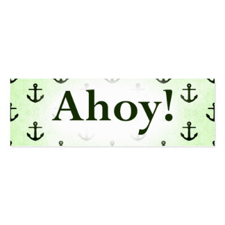 Ahoy! Anchor Pattern Design Light Green Mini Business Card