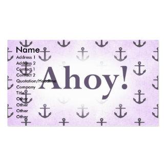 Ahoy! Anchor Pattern Design Light purple Business Card