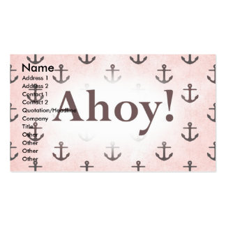 Ahoy! Anchor Pattern Design Pink Business Card