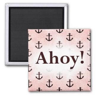 Ahoy! Anchor Pattern Design Pink Magnet