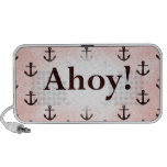 Ahoy! Anchor Pattern Design Pink PC Speakers