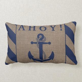 ¡Ahoy! Azules marinos del ancla y rayas náuticos Cojín Lumbar