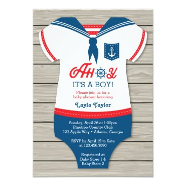 Toddler & Baby themed Ahoy Baby Shower Invitation, Sailor, Nautical Card