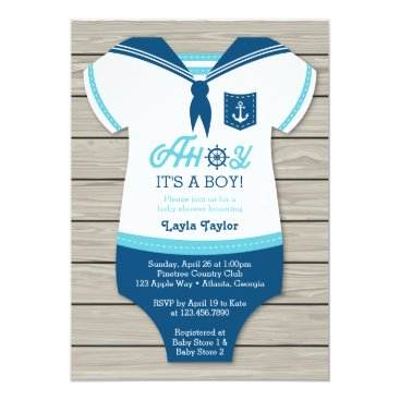 DeReimerDeSign Ahoy Baby Shower Invitation, Sailor, Nautical Card