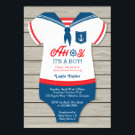 "Ahoy Baby Shower Invitation, Sailor, Nautical Invitation<br><div class=""desc"">Ahoy! Baby shower ahead! Invite your guests with this cute sailor-themed invitation.</div>"