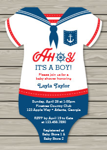 Nautical baby shower invitations zazzle ahoy baby shower invitation sailor nautical invitation filmwisefo