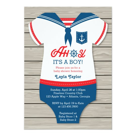Lovely Ahoy Baby Shower Invitation, Sailor, Nautical Invitation