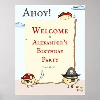 Ahoy Bird Pirate Theme Birthday Welcome Poster