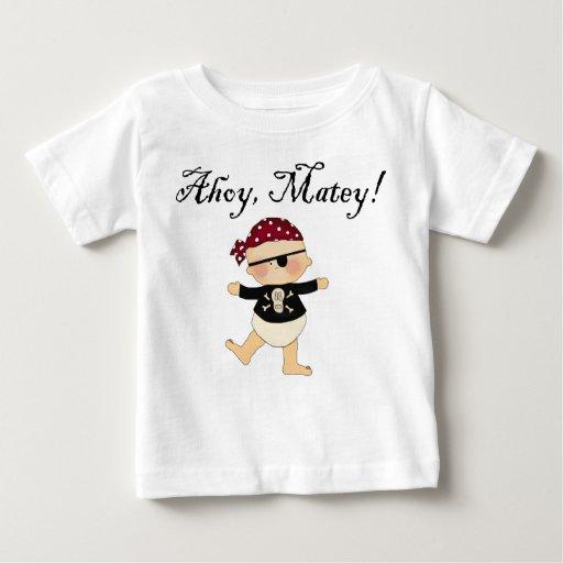 Ahoy camiseta afable del pirata del bebé