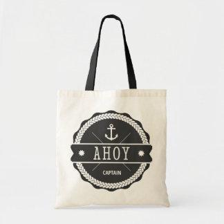 AHOY Captain Badge with anchor Canvas Bags