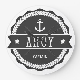 AHOY Captain Badge with anchor Round Clocks