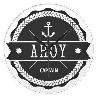 AHOY Captain Badge with anchor Round Clocks