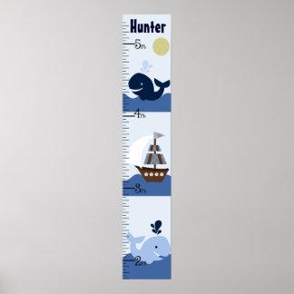 Ahoy carta de crecimiento personalizada del póster