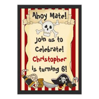 ¡Ahoy compañero Invitación del cumpleaños del pir