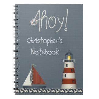 Ahoy cuaderno náutico lindo del velero y del faro