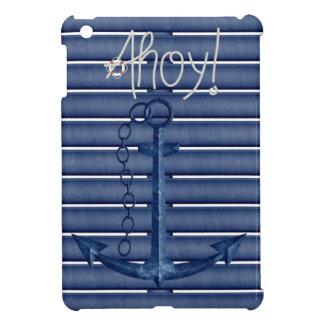 Ahoy cuerda, ancla azul y iPad náutico de madera m iPad Mini Coberturas