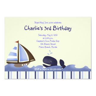 Ahoy cumpleaños 5x7 de la ballena azul del comunicados personales